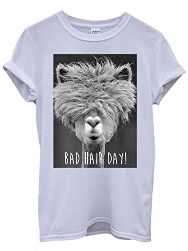 Preisvergleich Produktbild Bad Hair Day Llama Lama Funny Hipster Swag White Weiß Damen Herren Men Women Unisex Top T-Shirt-Small