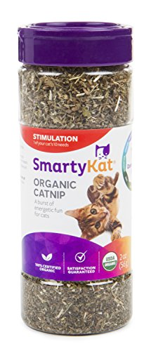 SmartyKat, Organic Catnip, For Cats, 100% Certified Organic, Natural, Pure, Potent, Resealable Canister, 2 Oz