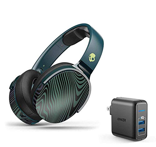 Skullcandy HESH 3 Noise-Isolating Over-Ear Wireless Bluetooth Headphone Bundle with Anker 2 Ports USB Wall Charger - Psycho Tropical
