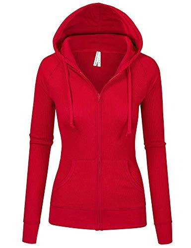 TL Women's Long Sleeve Zip Up Hoodie, Fashion Lightweight Hooded Jacket Junior Plus 35_RED S