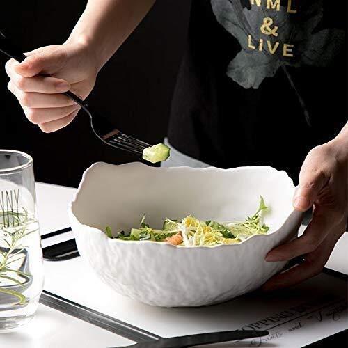 Tazón de cerámica Nordic personalidad creativa irregular cuenco de cerámica vidriada martillo vajilla de fuente de fruta de tazón de sopa tazón de ensalada italiana ( Color : White , Size : 8 inches )