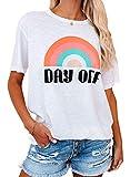LOSRLY Camiseta de manga corta con estampado de arco iris para mujer con cuello redondo