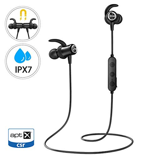 Mpow S11 Auriculares Bluetooth 5.0, Auricular aptX Deporte In Ear Inalámbrico IPX7 Impermeable con HD Audio, Auriculares Deportivos magnéticos Micrófono Deporte Correr para Android iPhone PC etc