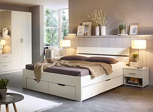 Rauch Möbel Ryba Bett Stauraumbett mit 4 Schubkästen in Weiß, Liegefläche 180x200 cm, Gesamtmaße BxHxT 185x88x215 cm