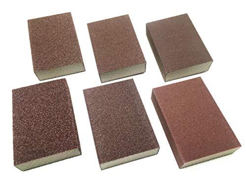 Jiayouy 6pcs Wet Dry Sanding Sponge Emery Cloth Sandpaper Blocks Buffing Diamond Polishing Pads Hand Sanding Tool 60# 120# 220# Grit