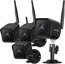 Security Camera Outdoor , Wansview 1080P Wired WiFi IP66 Waterproof Surveillance Home Camera with Motion Detection, 2-Way Audio, Night Vision,SD Card Storage and Works with Alexa W6-4PACK (Black)