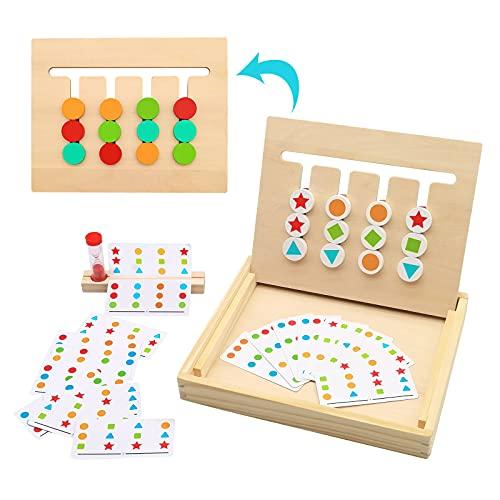 Euyecety Juguetes Montessori Juguetes de Madera Puzzles, Rompecabezas de Clasificación Colores y Formas para 3 4 5 Años Niños Niñas, Juegos Educativos Preescolar-18 Tarjetas de Patrón y Reloj de Arena