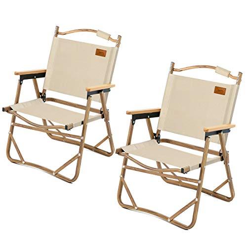 DesertFox アウトドア チェア キャンプ チェア 軽量 折りたたみ 椅子 L サイズ 78X54×51cm 耐荷重 150kg コンパクト 携帯便利 キャンプ椅子 DY008 (カーキ2個)