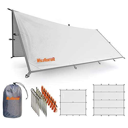 WildVenture Tent Tarp Rain Fly - Waterproof Lightweight Survival Gear Shelter for Camping, Backpacking, and Outdoor Living - 9.8' x 9.3' Tarp Tent (White)