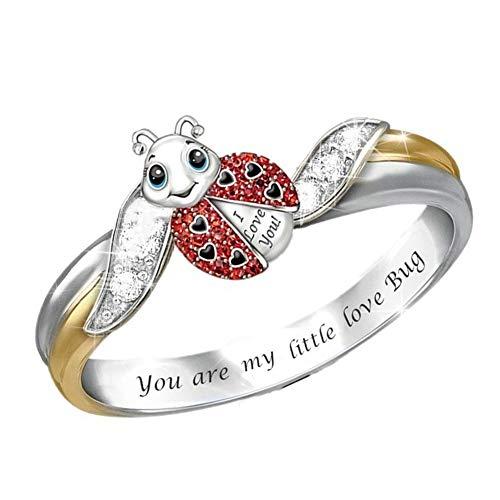 display08 Anillo con Incrustaciones De Diamantes De Imitación Mujer Vintage Elegante Mariquita Anillo De Dedo US 10