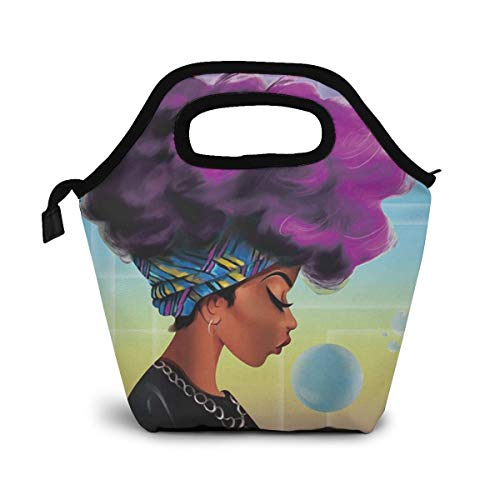 Reusable Lunch Bag, Purple Hair African Women Insulated Neoprene Tote Bag Organizer Lunch Holder Container for Women, Men and Kids, Soft Lunch Tote for Work, School and Travel Picnic