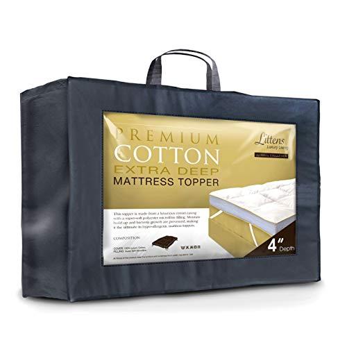 Littens 4' Extra Deep Ultimate Premium Cotton Soft As Down Hotel Collection King Bed Size Mattress Topper 280TC Cotton Casing, Microfibre Filling (5ft, 152cm x 200cm x 10cm)
