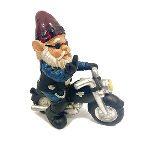 ayaowangluok Garden Gnome Statue, 6.7' Tall Polyresin Christmas Ornaments Art Crafts for Lawn, Indoor and Outdoor Decorations(Ride a motorcycle)