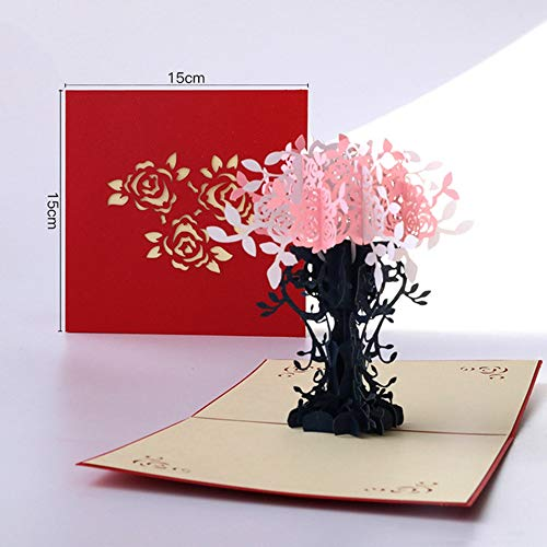 HuXwei Tarjetas de felicitación del día de la Madre Postal 3D Pop UP Flor Gracias Amor Feliz cumpleaños Invitación Regalos Papel de Boda, 2038-P