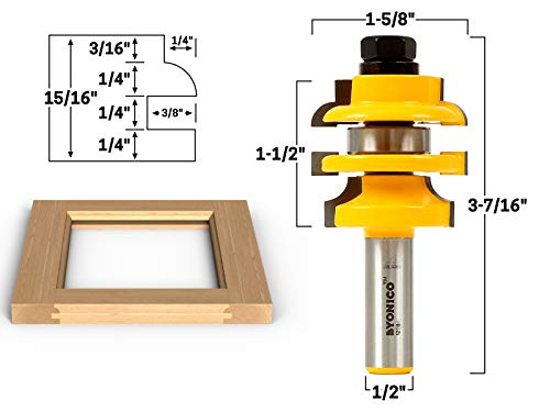 Yonico 12118 Roundover Stacked Rail and Stile Router Bit 1/2-Inch Shank