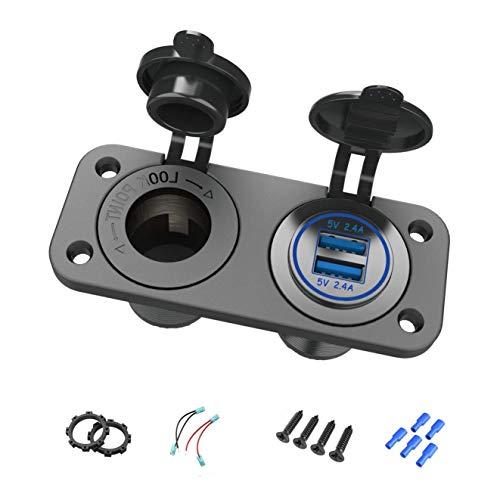 Thlevel Cargador de Coche USB Dual Toma de Encendedor de Cigarrillos 12 V Impermeable para Coche, Barco, Marino, Motocicleta, Camión