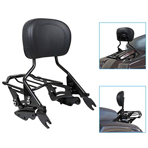 KOLEMO Detachable Backrest Sissy Bar Upright Passenger Backrest w/Pad With 4-Point Docking Hardware Kit and Air Wing Two Up Luggage Rack Compatible for Touring Road King Street Glide 2009-2013(Black)