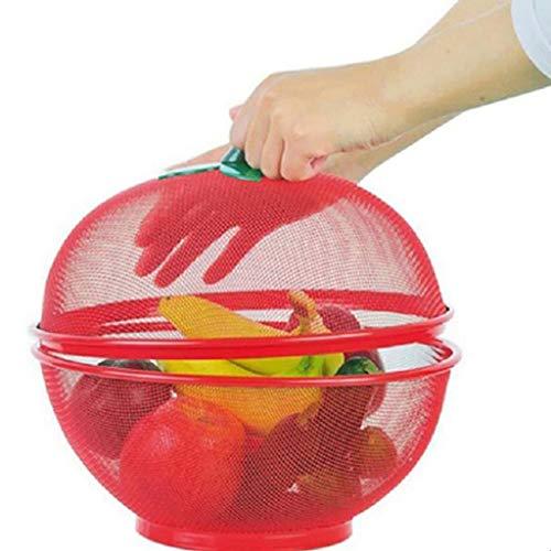 DAGONGREN Cesta de Frutas de Rejilla Redonda Placa de Hierro con Tapa Vajilla de Cocina Cesta de Drenaje Decoración de Mesa (Color : A)