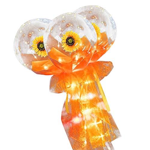 LED Luminous Ballon süß Sonnenblumeblüte DIY Blumensträuße Helium Balloon Gas Light Balloon mit Sonnenblume...