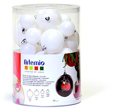 Artemio 39 palline di Natale da decorare in diverse misure