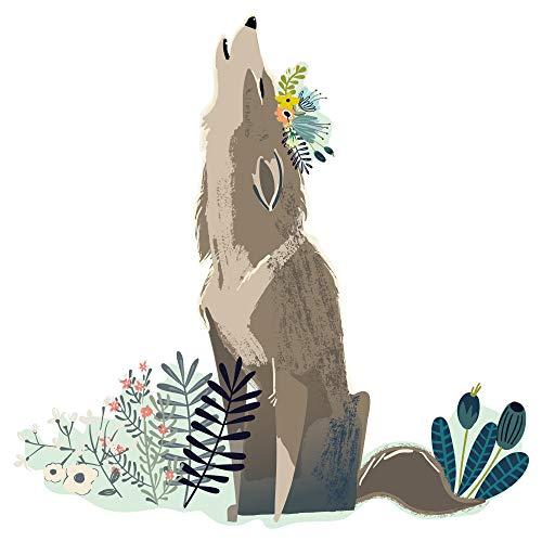 dekodino® Wandtattoo Wolf mit Blumenwiese Kinderzimmer Dekoration