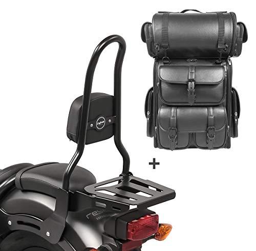 Respaldo Sissy Bar L3 + Bolsa Trasera LX para Yamaha XV 535 Virago 88-03