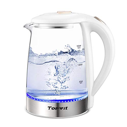 Topwit Electric Kettle Glass Hot Water Kettle, 2 Liter Electric Tea Kettle, Stainless Steel Inner Lid and Bottom, Fast Heating with Auto Shut-Off and Boil Dry Protection, White