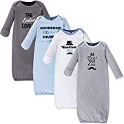 Hudson Baby Unisex Baby Cotton Gowns, Handsome Fella, 0-6 Months
