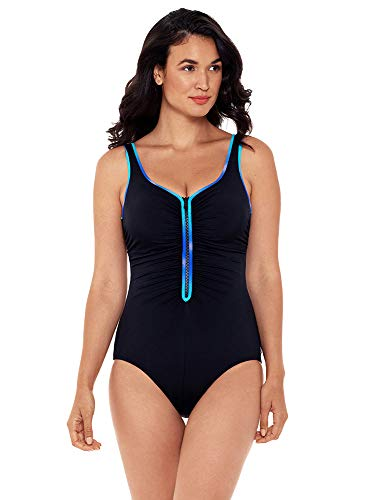 Reebok Women's Swimwear Sport Fashion Sun Glow Shirred Zipper Tank Sweetheart Neckline One Piece Swimsuit, Blue, 14