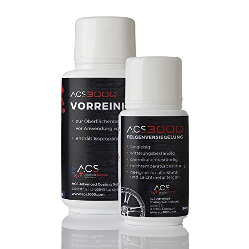 ACS3000 Felgenversiegelung Set. 5 Jahre Hochglanz und Schutz vor Salz, Bremsstaub und Verschmutzung bis +850°C bei einmaliger Anwendung. Set mit Vorreiniger, Handschuhen, Tüchern und Felgenversiegelung (50 ml)