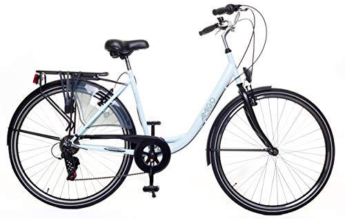 Amigo Style - Cityräder für Damen - Damenfahrrad 28 Zoll - Shimano 6 Gang-Schaltung - Citybike mit Handbremse, Beleuchtung und fahrradständer - Blau