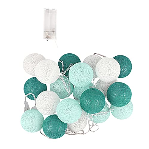 Fairy Lights LED String Lights Plug in Indoor - 3M 20 Pcs Cotton Ball String Lights White Xmas Fairy Lights Starry Wall Light Wedding Party Home Christmas Decoration (D)