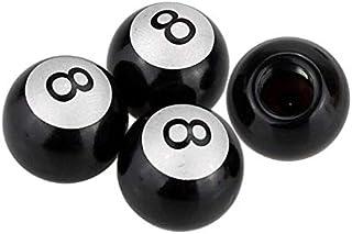 INCART Pool Eight Ball (Billiard Black 8) Steel Tire Valve Stem Caps, Universal (4pcs) Car Tire Valve Stem Air Caps Cover ...