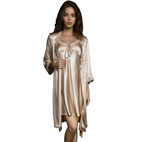 SUNBABY Women Sexy Silk Satin Robe Camisole Pajama Dress 2 Piece Suit Sleepwear Best Gift for Girls, Champagne, Medium