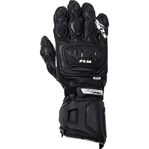 FLM Motorradhandschuhe lang Motorrad Handschuh Sports Lederhandschuh 8.0 schwarz/weiß 10, Herren, Sportler, Sommer, Leder/Textil