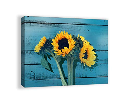 Rustic Kichen Decor for the Home Country Wall Art Sunflower Themed Farmhouse Teal Decor Kitchen Canvas Framed Artwork for Walls