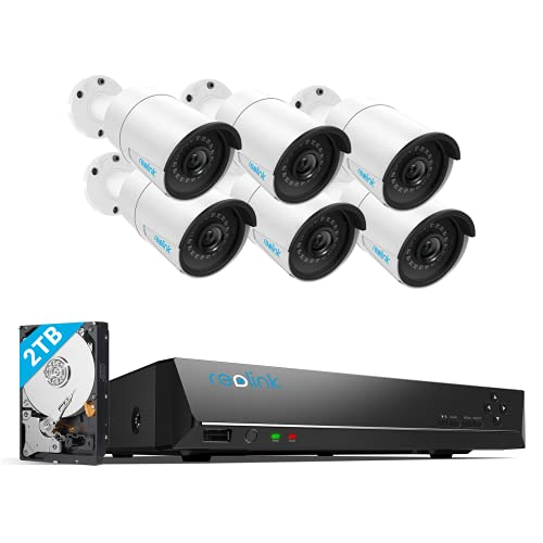 REOLINK 8CH 5MP Home Security Camera System, 6pcs Wired 5MP Outdoor PoE IP Cameras, 8MP 8CH NVR with 2TB HDD for 24-7 Recording, RLK8-410B6-5MP