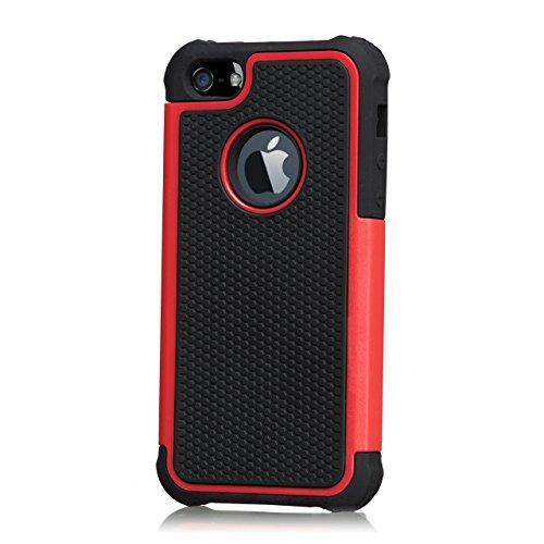 32nd Shockproof Series - Etui Coque de Protection Antichocs Contre Les Chutes et Les Chocs pour Apple iPhone 4 & 4S, Double Couche Robuste - Rouge