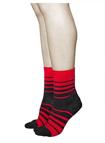 vitsocks 3 PAAR Damen Wollsocken mit 80prozent MERINO WOLLE warm weich atmungsaktiv, 35-38, rot grau gestreift
