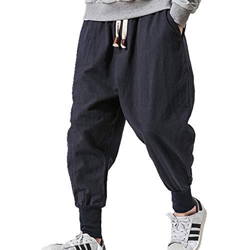 Streetwear Hombres Pantalones Harem Estilo Casual Algodón Lino Pantalones Hombre Pantalones Baggy Pantalones Hombres
