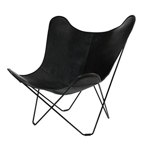 Leather Mariposa Butterfly Chair Sessel, schwarz italienisches Leder Gestell schwarz