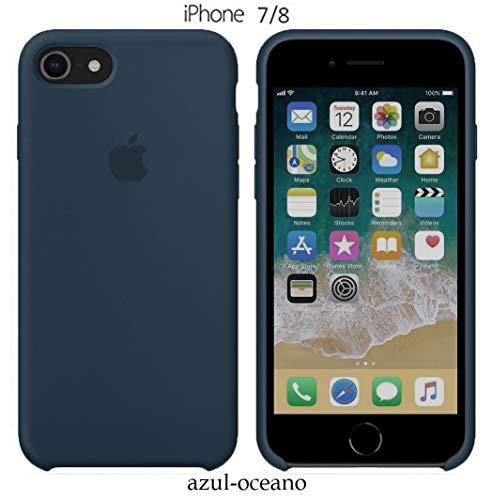 Funda Silicona para iPhone 8 iPhone 7, SE 2ª generación, Silicone Case Calidad, Textura Suave, Forro Interno Microfibra (Oceano)