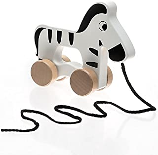 Toddle Toy Wooden Baby Toys Cute Zebra – Wooden Pull Toys are Great for 1 Year Olds and Toddlers and are Fun As a Push Toy as Well