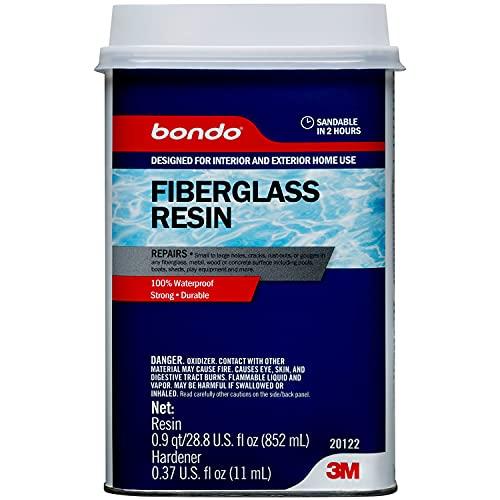 Bondo Fiberglass Resin, Interior and Exterior Home Use, 100% Waterproof, Strong, Durable, 28.8 fl oz