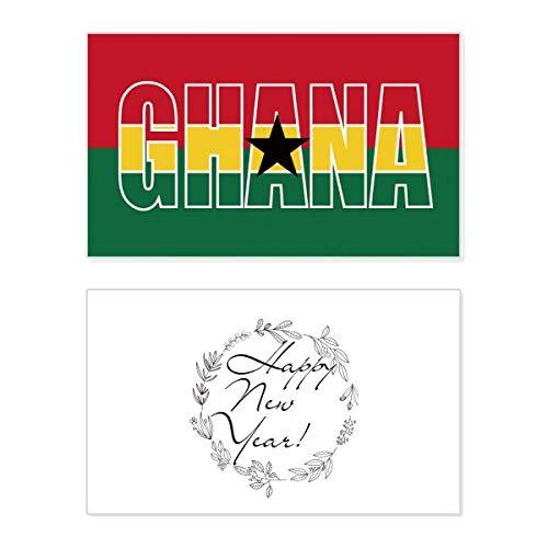 Ghana Land Vlag Naam Nieuwjaar Card Herdenkingsbericht Zegen