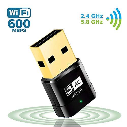 NETVIP Adaptador WiFi 5GHz Tarjeta Red WiFi Receptor WiFi USB AC600 Banda Dual Adaptador Inalambrico WiFi para WPS Adaptador de Red Compatible con Windows 7/8/ 8.1/10/ XP/Vista/Mac OS