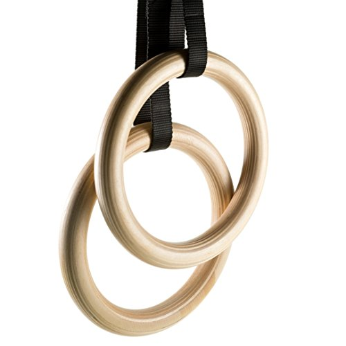 Ape King Fitness Professional Olympic Wooden Gymnastics Rings - Adjustable Straps - Quick Full Body Muscular Workout - Outdoor Exercise - Home Gym Bodyweight Training - Natural Strength Equipment