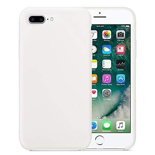 Funda para iPhone 8 iPhone 8 Plus, Ultra Suave Slim Fit líquido Silicona Full protección Rasguño y Resistente Anti-Estático Choque Bumper Carcasa (iPhone 8, Blanco)
