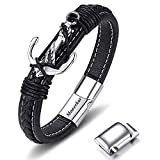 Moneekar Jewels Leather Stainless Steel Bracelet for Boys and Mens