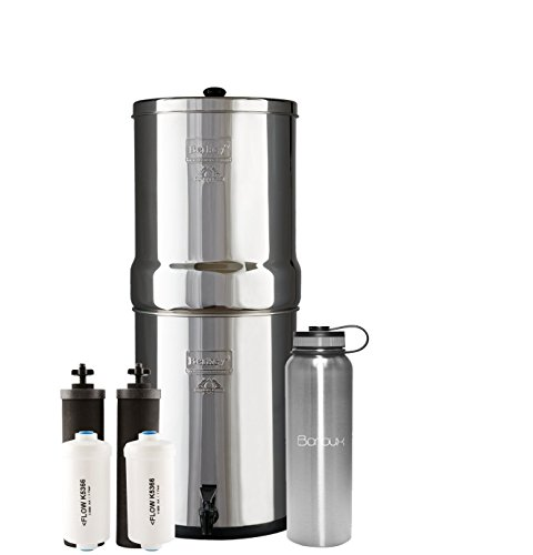 Boroux Bundle Imperial Berkey Water Filter System Includes Black Filters and Fluoride Filters (4.5 Gallon) Bundled 40 oz Stainless Steel Double Wall Bottle